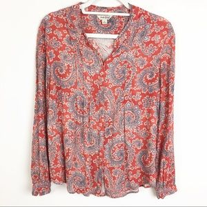 Lucky Brand Paisley Red & Blue Rayon Button Down
